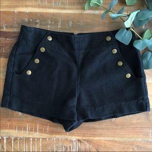 Tibi Black Button Shorts